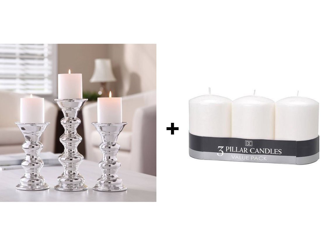 Better Homes And Gardens Romantic Touch 100 Percent Ceramic Pillar Elegant Centerpiece Home Decor Candle Holders