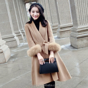 New arrival Casual woolen knee length patterns women winter coat OEM/ODM guangzhou manufacturer