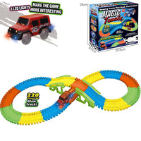 Magical Race track with 220 pcs and 1 LED racer car DIY kids Slot toys