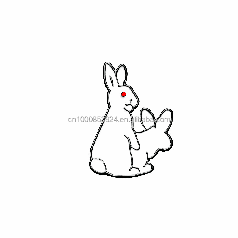 Soft Custom Enamel Pins White Evil Rabbits Brooch Pin Animal Broches Jewelry Gift For Child Jacket Badge