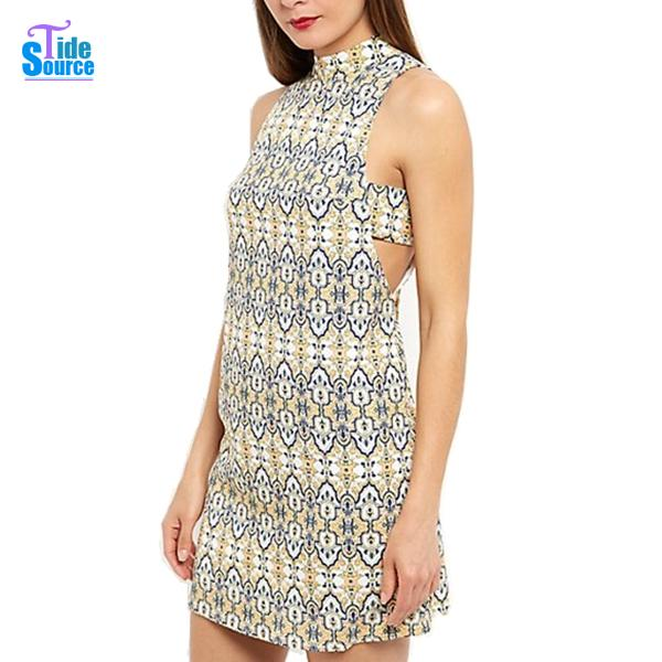 679430b9b3 Get Quotations · 2015 Summer Style Mini Summer Dress Yellow Paisley Print  Straight Shift Dresses Sleeveless Off the Shoulder