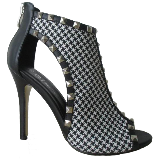 2016 Newest High <strong>Heel</strong> Black and White Plaid Rivets Peep Toe Women Sandal