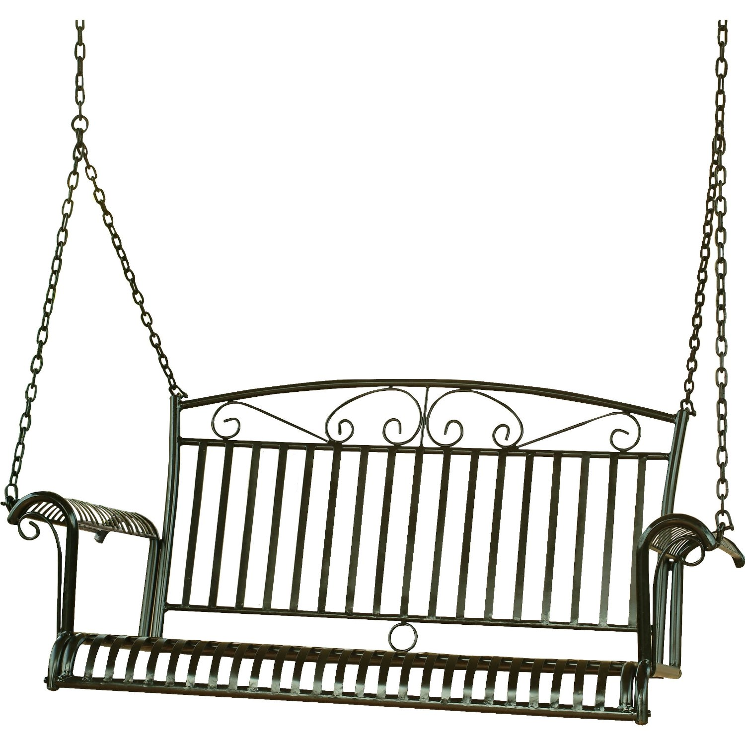 Get Quotations · Three Posts Pure Wrought Iron Dual Powder Coat Protection  Snowberry Porch Swing, Black Antique Finish