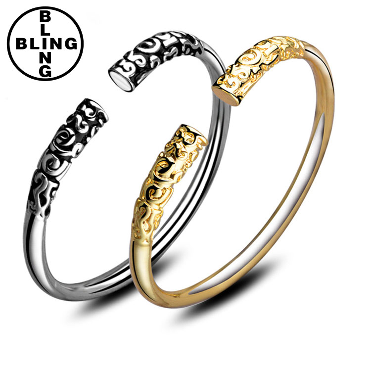 >>>2017 top sales fashion classic couple s925 bangles creative open gold silver lovers bangles