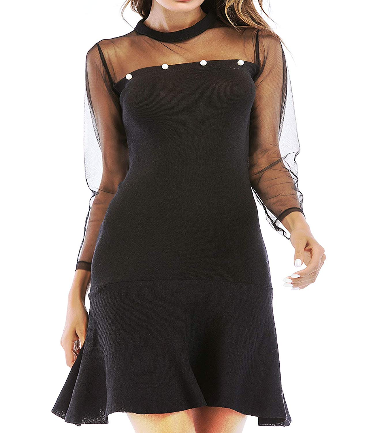 Women Mesh Long Sleeve Dress Tunic Fitted Casual Black Cocktail Swing Mini Jersey Junior Knit Dresses Sexy Night Party