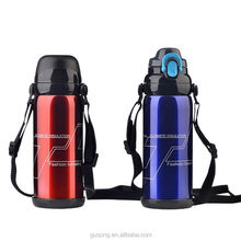 portable double wall red straw stainless steel sport water bottle for bike