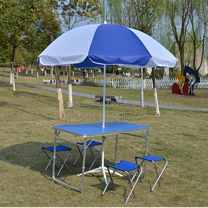 Outdoor Furniture General Use and Yes Folded high quality plastic <strong>folding</strong> table and chairs with umbrella