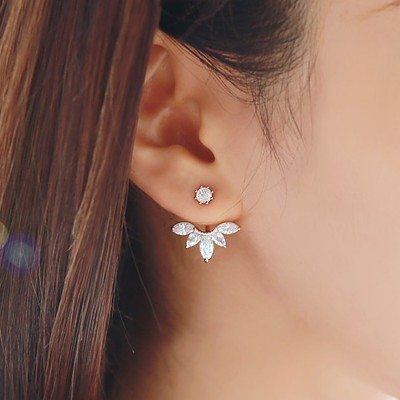2015 Fashion Earing Big Crystal Silver Plated Ear Jackets Jewelry High Quality Leaf Ear Clips Stud