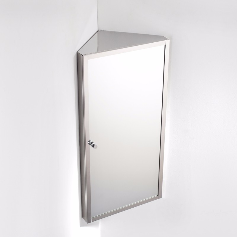 7041 Stainless steel wall mounted bathroom corner mirror cabinet