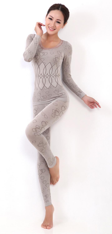 Зима модель теплый кальсоны о шея кружева цветок женщины формирователь бесшовные термобелье с длинным + полная длина брюки shapewear