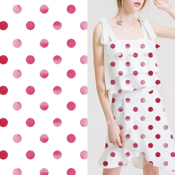 Environmentally-friendly red spot print digital printing polyester dress fabric