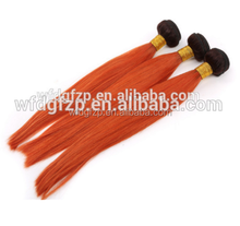 100% Remy Human Hair Weft 1b/orange ombre hair bundle Factory Wholesale Dark Root # 1B/orange Hair weave