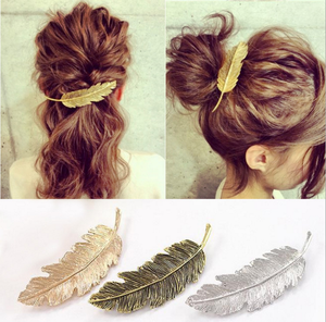 Antique feather alloy leaves fashion accessories metal hair pin jewelry hair ornaments