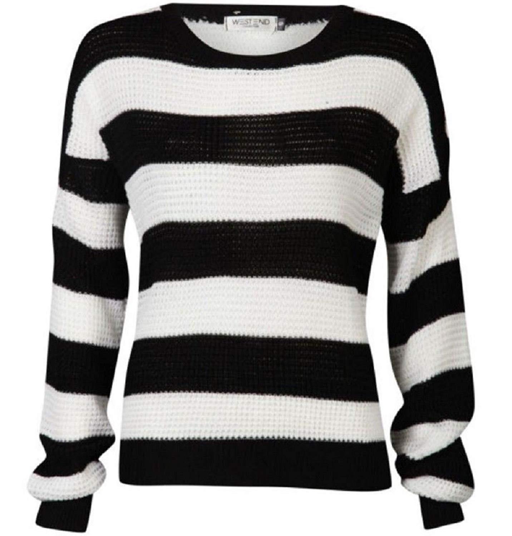 Rimi Hanger Womens Black White Stripe Jumper Ladies Long Sleeve Fisherman Knitted Jumper Top S/L
