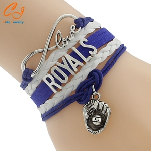 Infinity Love Colletion Team Kansas City Royals Baseball Bracelet- Charm Leather Braid Friendship Gift