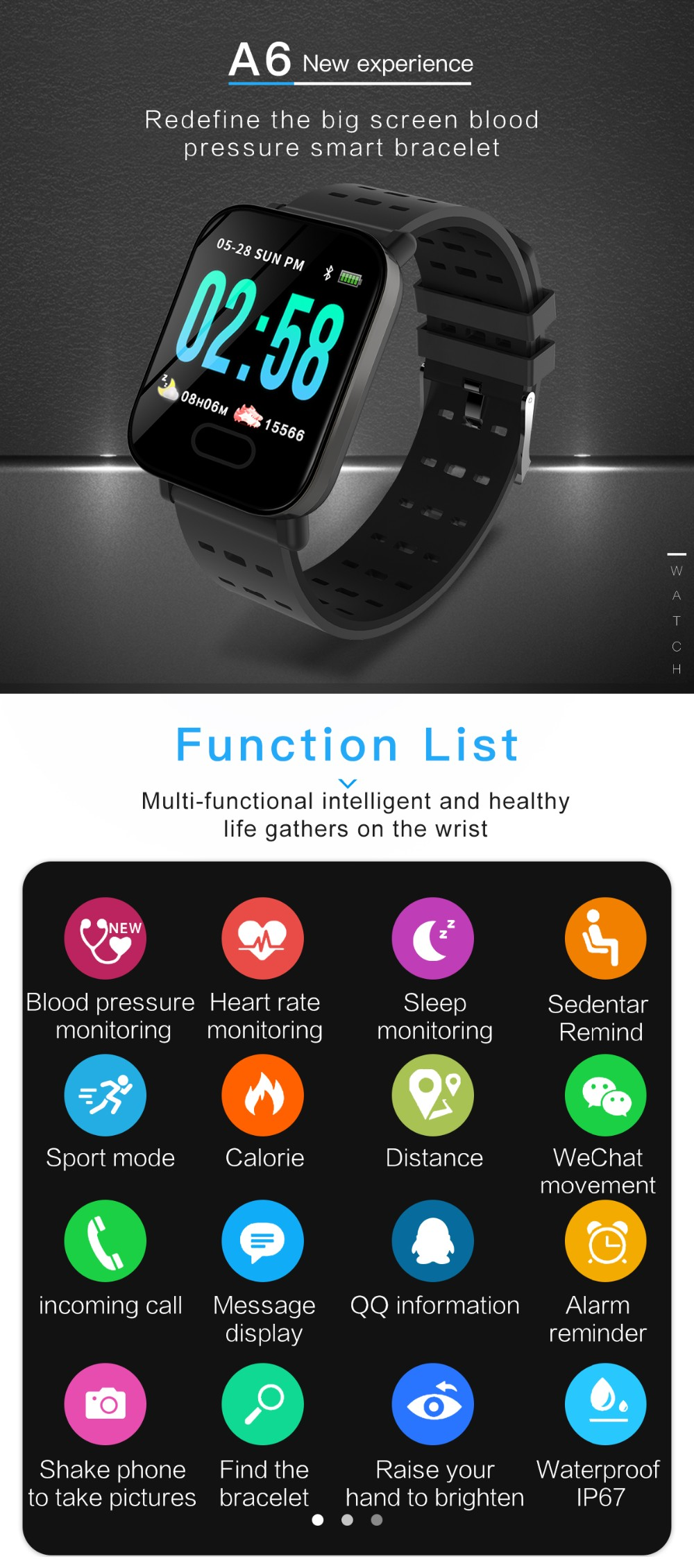 A6 1 3 inch big color screen fitness tracker smart band with