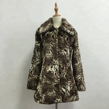 New Style Winter Faux Fur Coat Leopard Mink Trench Coats Sexy Luxury Female Overcoat