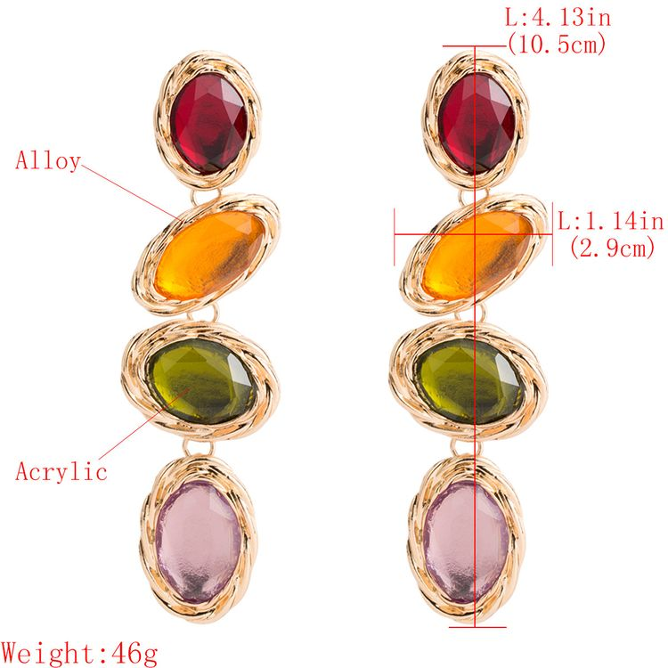 Polly 2019 Luxury Gold Plated Alloy Long Dangle Drop Colorful Acrylic Gemstone Earring