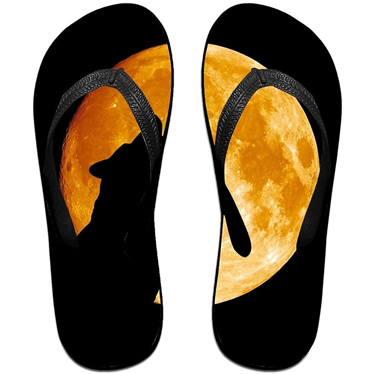 79a489a6434 Get Quotations · Starwshton Unisex Wolf Howling At The Moo Summer Beach  Herringbone Shoes Sandals Slipper Indoor   Outdoor