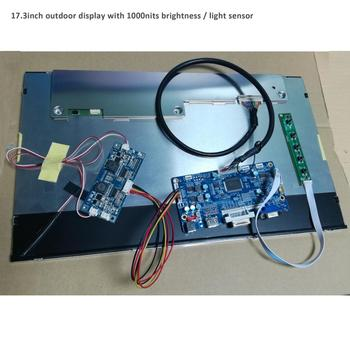 17.3 inch LCD outdoor sun-light readable display with light sensor and HDMI/VGA/DVI controller board