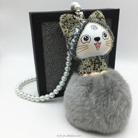 Rabbit Fur Ball Pom Pom Lucky Cat Toy Keychain Bag Charm Car Pendant