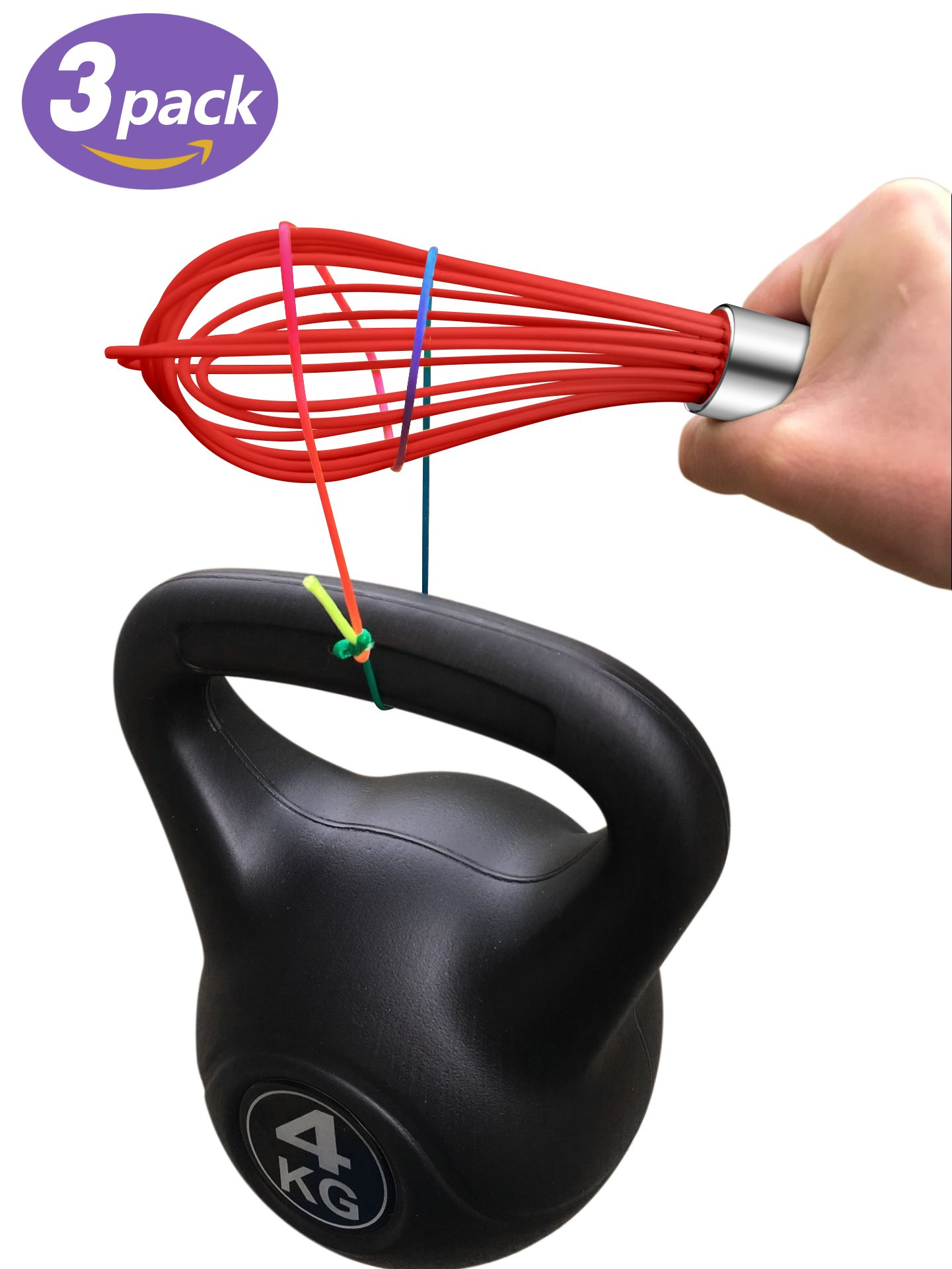 Get Quotations · TeeVea Kitchen Wire Balloon Dough Whisk Silicone Stainless  Steel (Silicone Whisk Red)