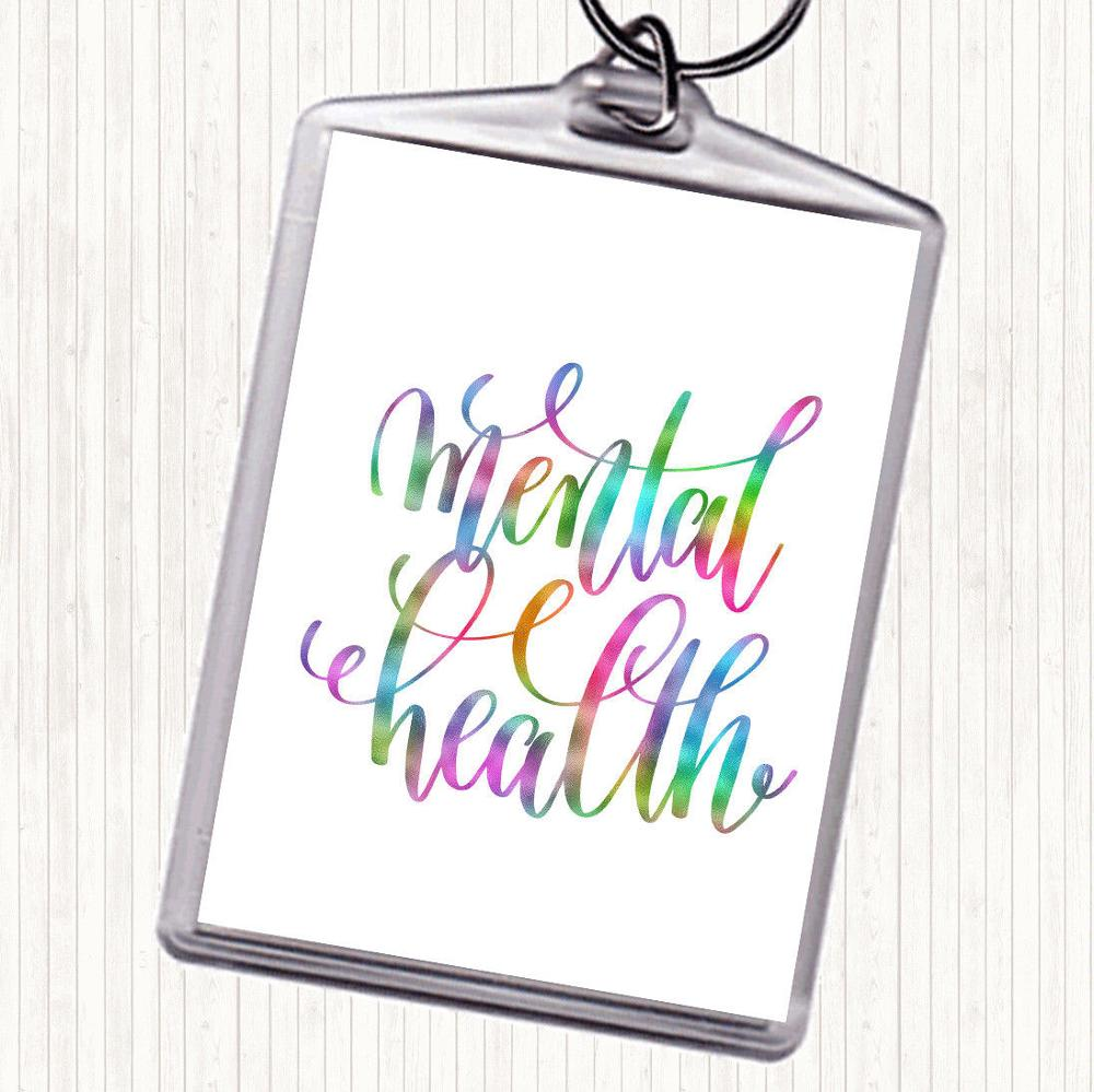 Metal Health Rainbow Quote Bag Tag Keychain Keyring promotion BP3904