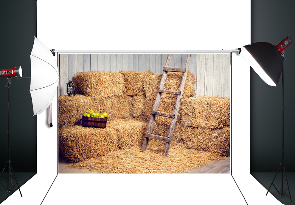Thin Vinyl Photography Background Computer Printed: 5X7ft Haystack Art Fabric Photography Backdrop Thin Fabric