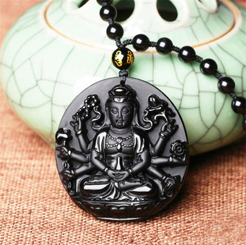 Natural Black Obsidian Pendant Carved jewelry Black Obsidian Guanyin Buddha Pendant Necklace