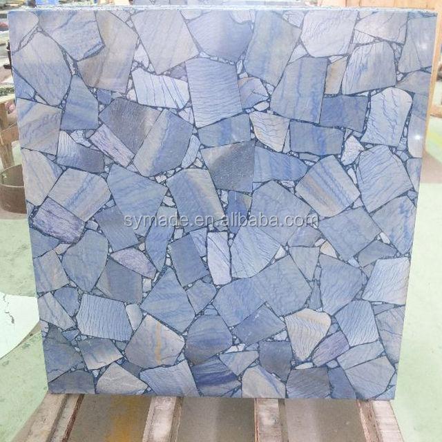 Special Blue Gemstone Blue Marble Stone Table Top Semi Precoius Stone Agate  Countertop