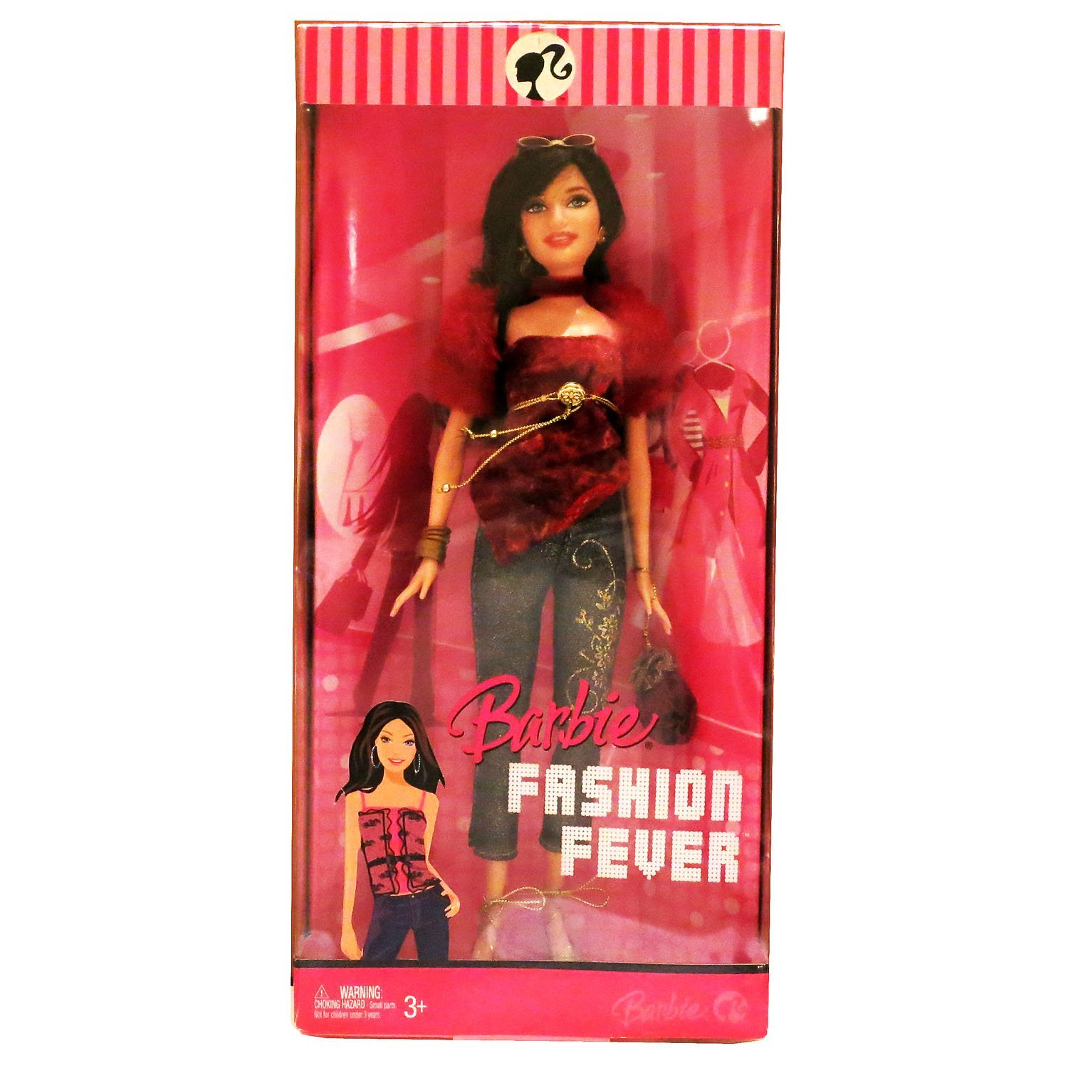 Mattel Year 2007 Barbie Fashion Fever Series 12 Inch Tall Doll Set - Glamorous, Trendy and Popular RAQUELLE (L3332) in Red Velvet Top with Faux Fur Sleeve Plus Bangles, Earrings, High Heel Shoes, Sunglasses and Purse
