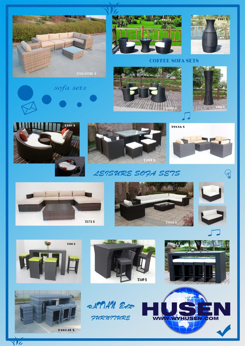 Husen Popular Morden Design Rattan/wicker Sofa Set WYHS T063 1H, Wicker