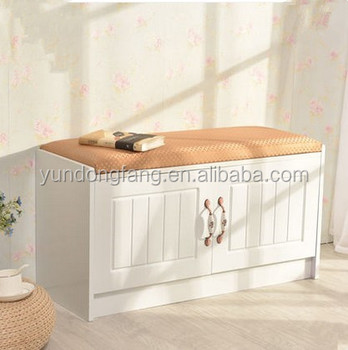 Newest Design Wooden Long Shoe Bench Shoe Rack Storage With White
