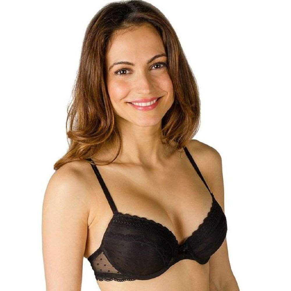 bd4bbb3fa8 Candie s Intimates Black Lace Polka Dot Demi Push-up Bra - Size 36C