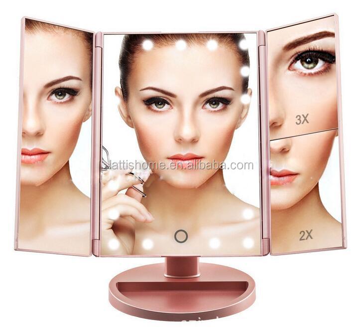 Haut Pflege Werkzeuge Tragbare Falten Make-up Spiegel Doppelseitige Rotation Folding Usb Schreibtisch Kosmetische Touch Spiegel