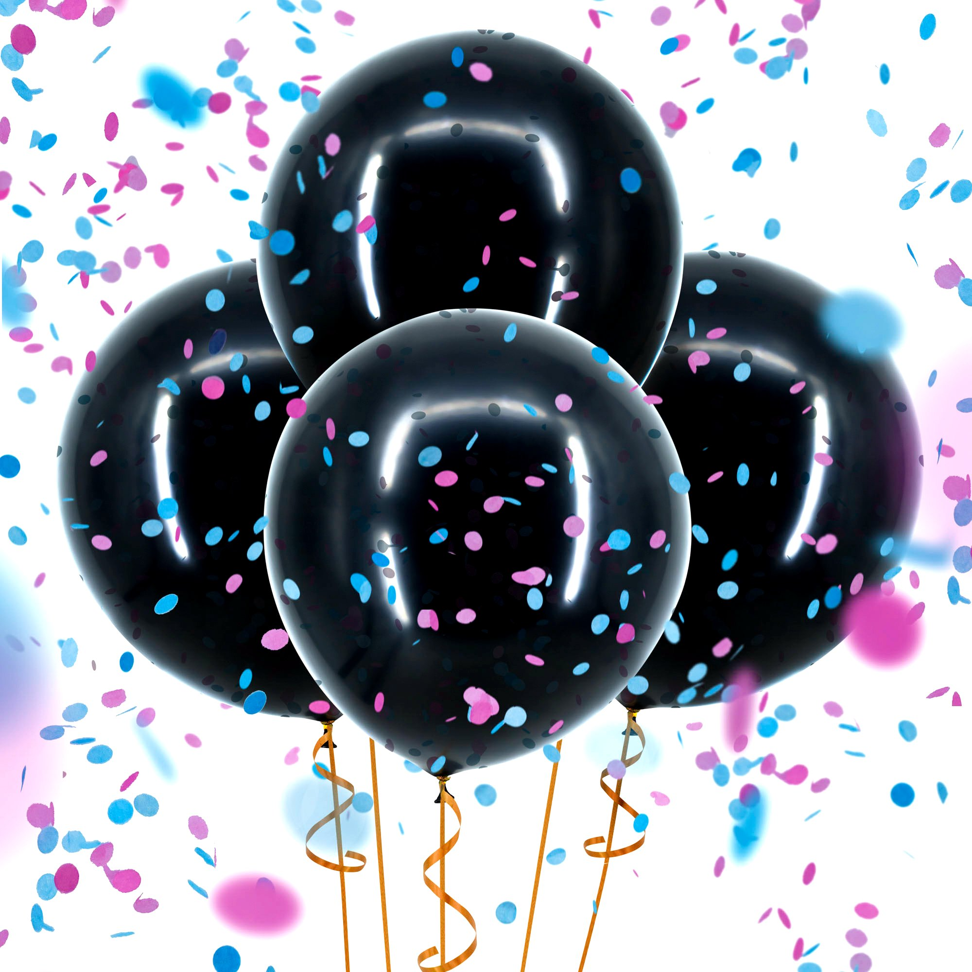 "Sepco Gender Reveal Confetti Balloon Black - with Pink and Blue Confetti (Jumbo 36"")"