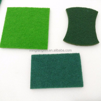 Heavy duty nylon green scouring pad for kitchen dishes sponge