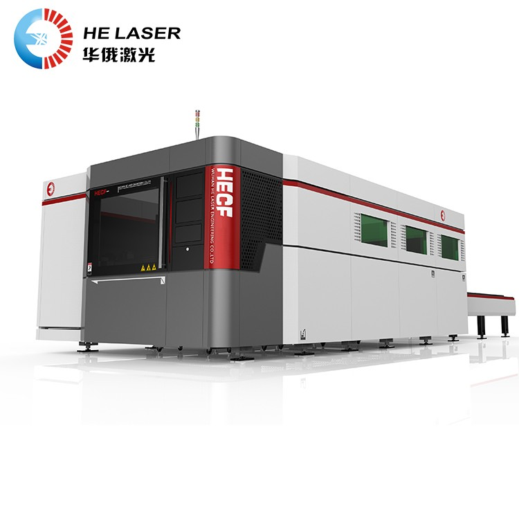 High power professionele dual worktables volledige cover fiber lasersnijmachine met camera