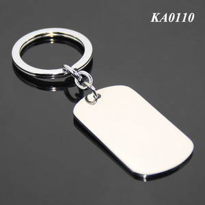Wholesale Rectangle Shape Dog Tag Key Chain Ring Blank Pets Tag Key Holder Promotional Stainless Steel Metal Keychain