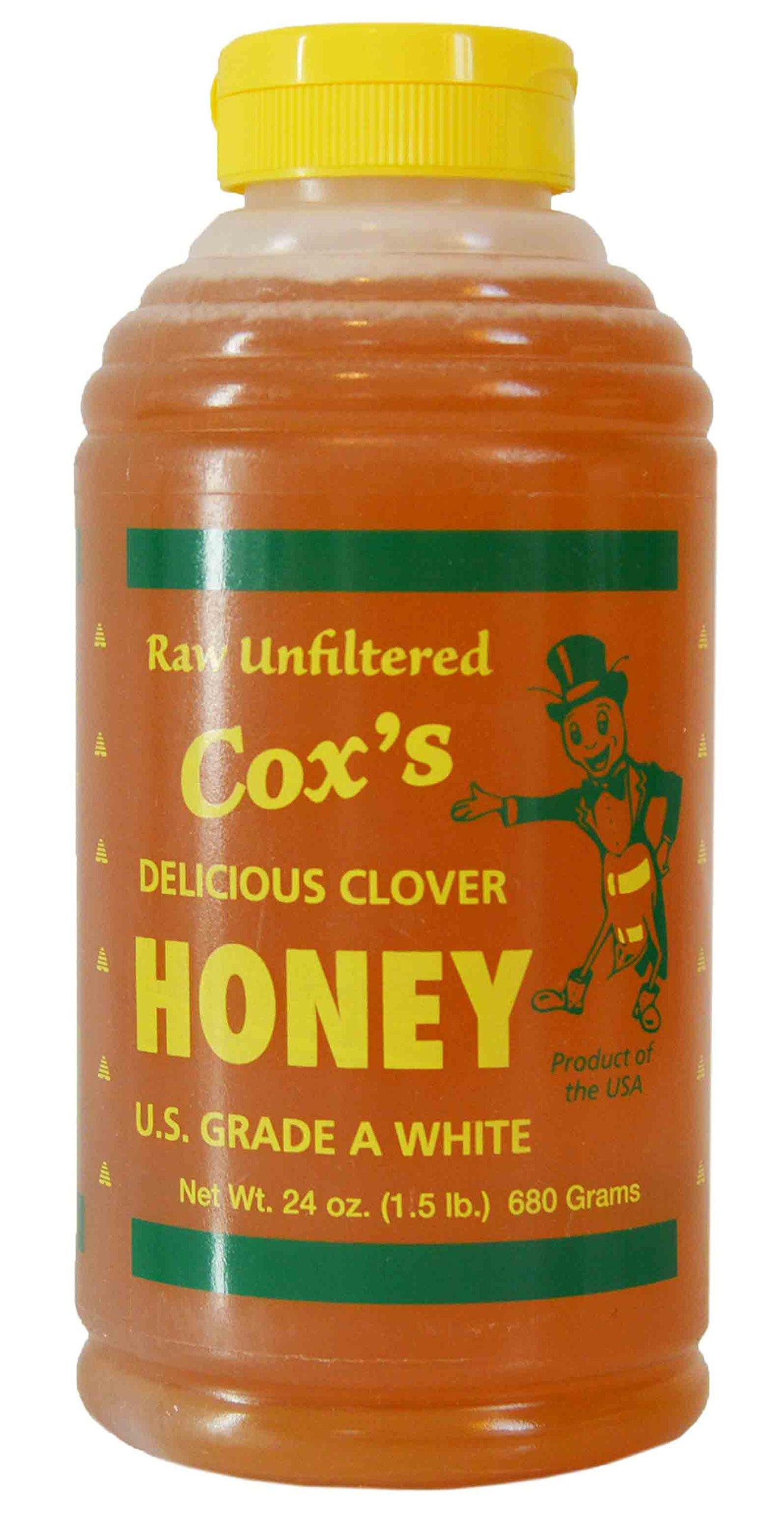 Cox's Raw Honey - Unfiltered Liquid Honey | 100% Pure Clover Delicious Honey, 24 oz
