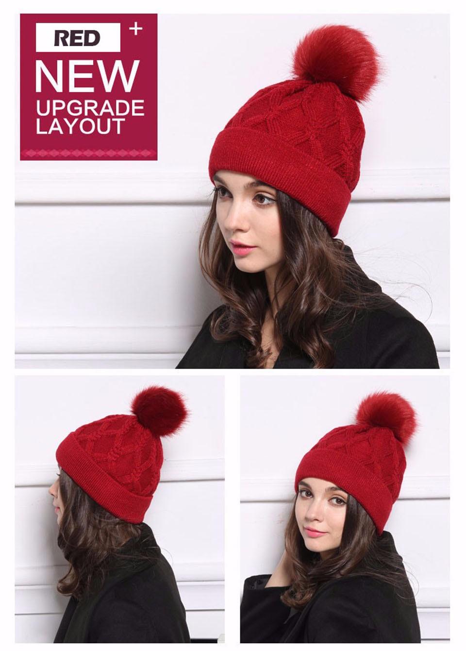 34e16b217c0 ... 2017 Hot Selling Womens Winter Hat Mink Raccoon Fur Pompom Female Caps  Warm Fleece Inside Beanies ...