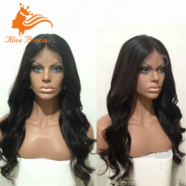 Glueless 7A Grade Loose Body Wave Virgin Indian Women Hair Lace Wig Remy Human Hair Ponytail Lace Front Wig