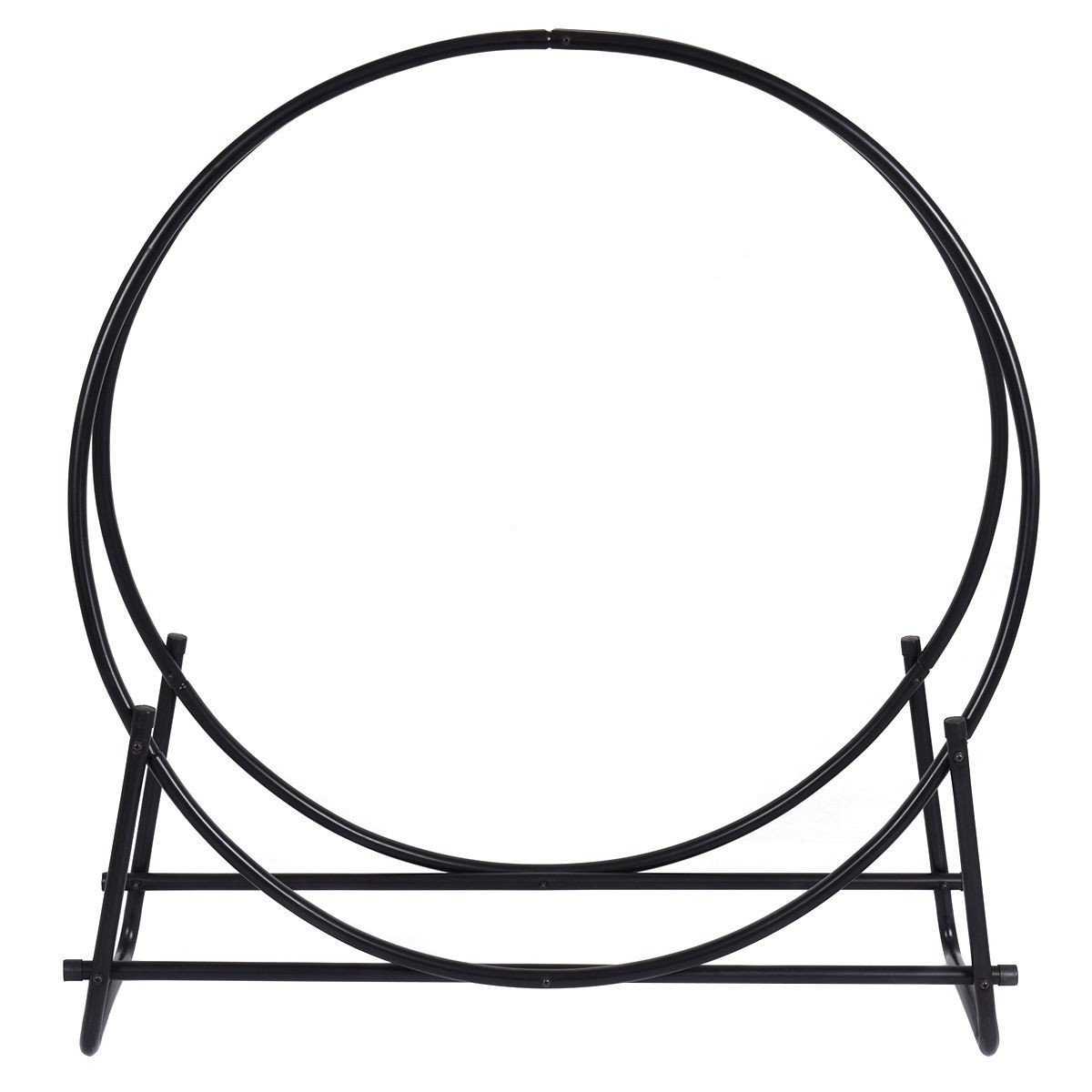 40-Inch Tubular Steel Log Hoop Firewood Storage Rack Holder Round Display