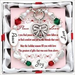 (2) Christmas Holidays Charm Bracelets ~ Expressively Yours ~ PEACE LOVE JOY ~ TWO Adorable BracleletS with Nice Holiday Charms ~ Gift Favor Holiday Spirit Accessory Secret Santa ~ Grab Bag ~ Sister Wife BFF Aunt Daughter Granddaughter ~ New
