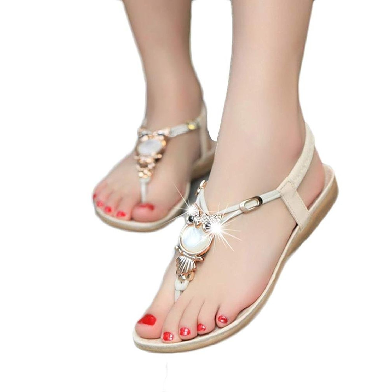 2ee0dc570 Get Quotations · Fullkang Women Cute Rhinestone Owl Sweet Sandals Clip Toe  Beach Sandals