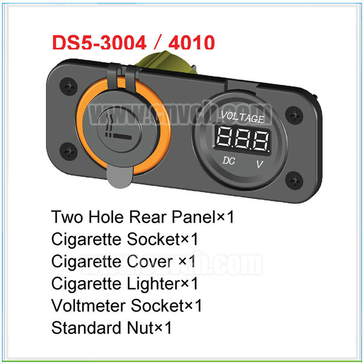 MD41 mounting panel meter socket & cigarette SOCKET with lighter Panel Mounting socket 1 2 V volt