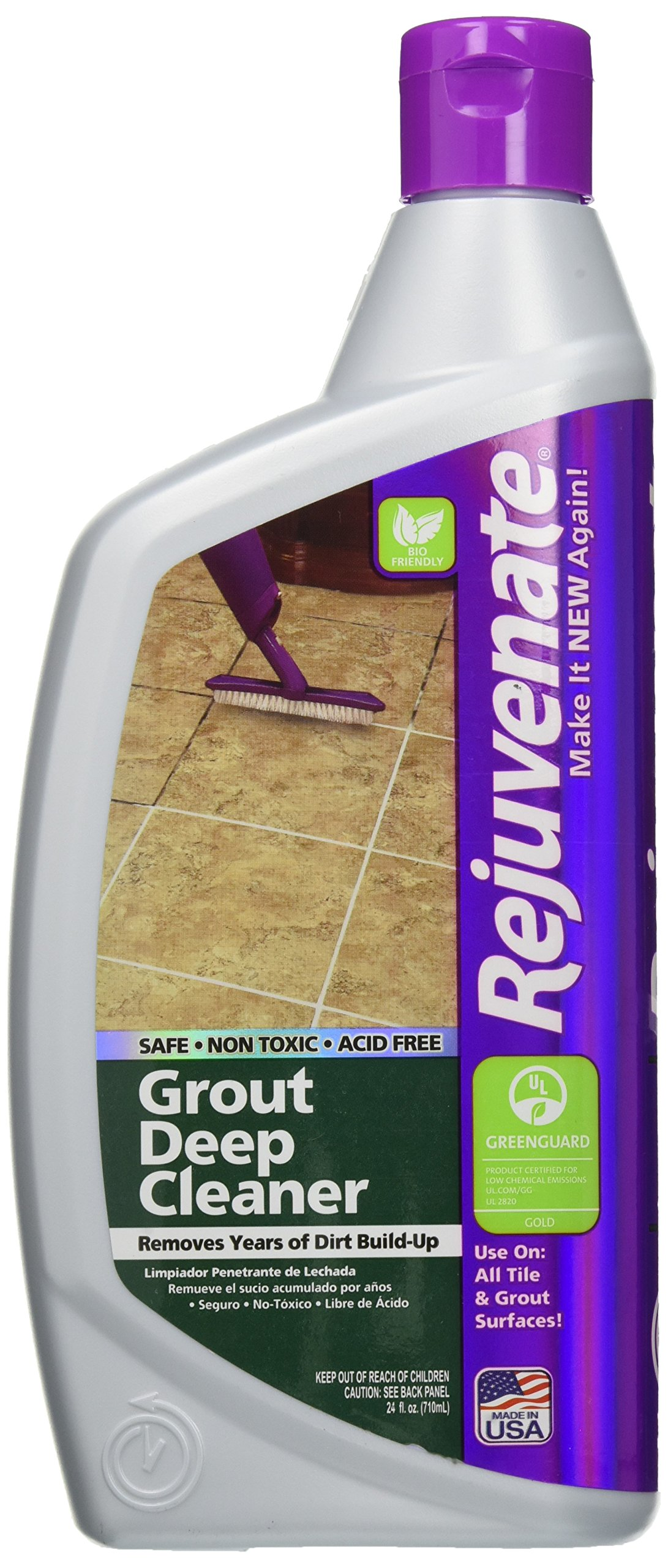 Rejuvenate Grout Deep Cleaner – Safe Non-Toxic Cleaning Formula Instantly Removes Years of Dirt Build-Up to Restore Grout to the Original Color – Non-Toxic – 24 Ounce