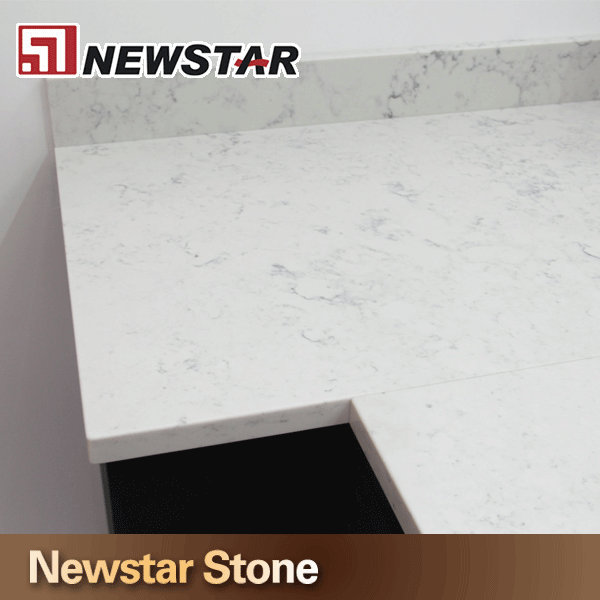 Polishing Surface Kitchen White Color China Quartz Stone Counter Tops