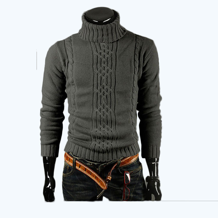 WSPLYSPJY Men Pullover Solid Color Autumn Winter High Neck Knitting Sweater