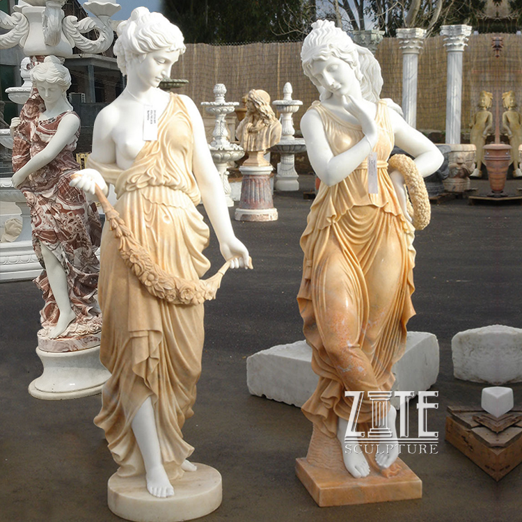 Natural marble hand carved granite stone lady with flower sculptures